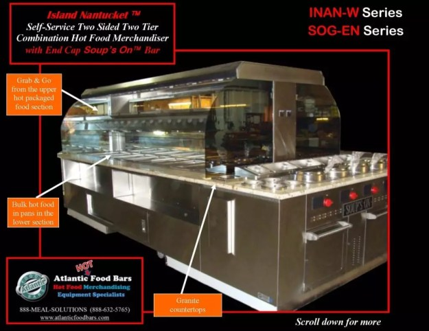 Atlantic Food Bars - 14' Island Wide Nantucket with Granite Countertop and End Cap Soup's On - INAN15776-SOGEN 1