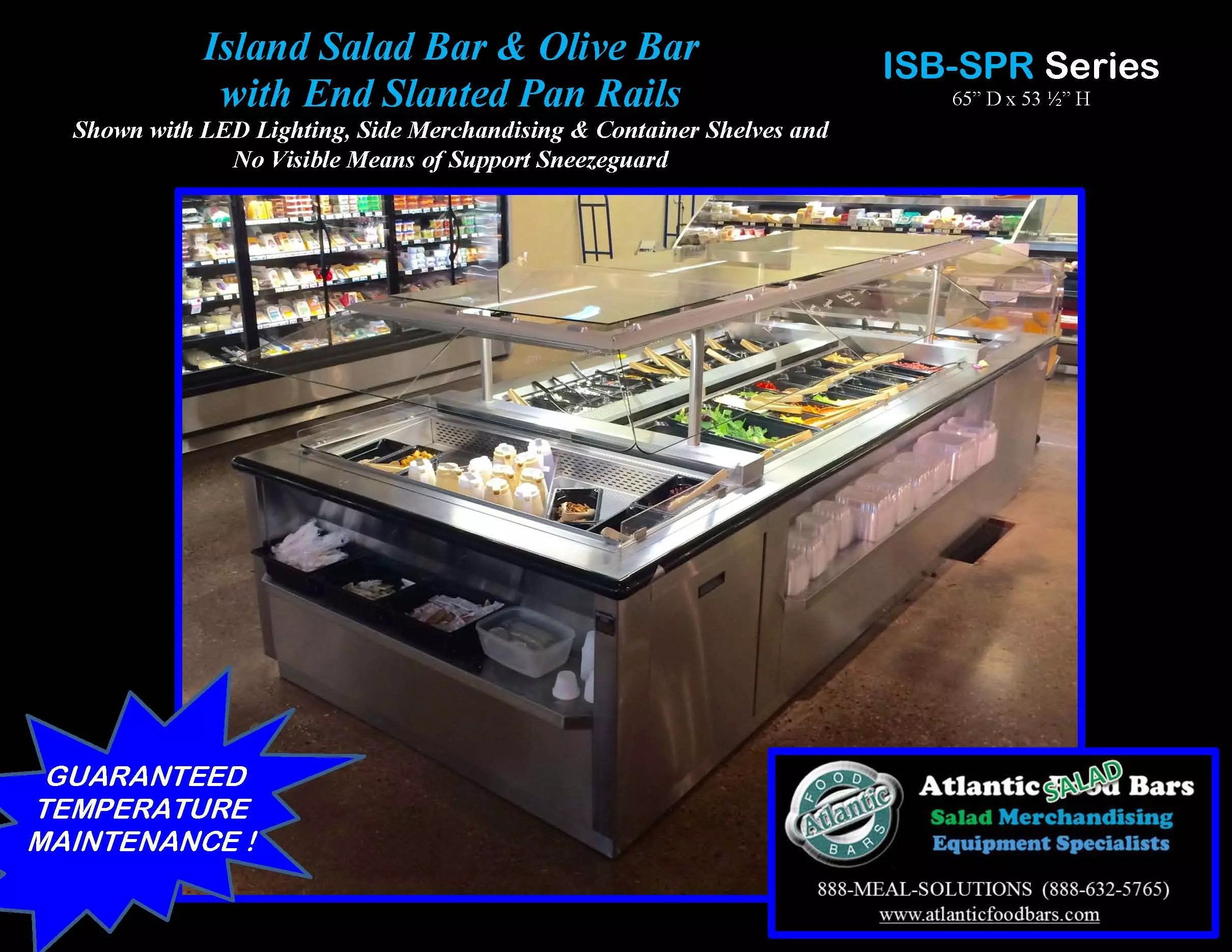 Atlantic food bars refrigerated island salad olive bar for Food bar meaning