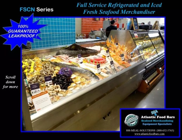 Atlantic Food Bars - 8' Iced and Refrigerated Seafood Case - FSCN9642 1