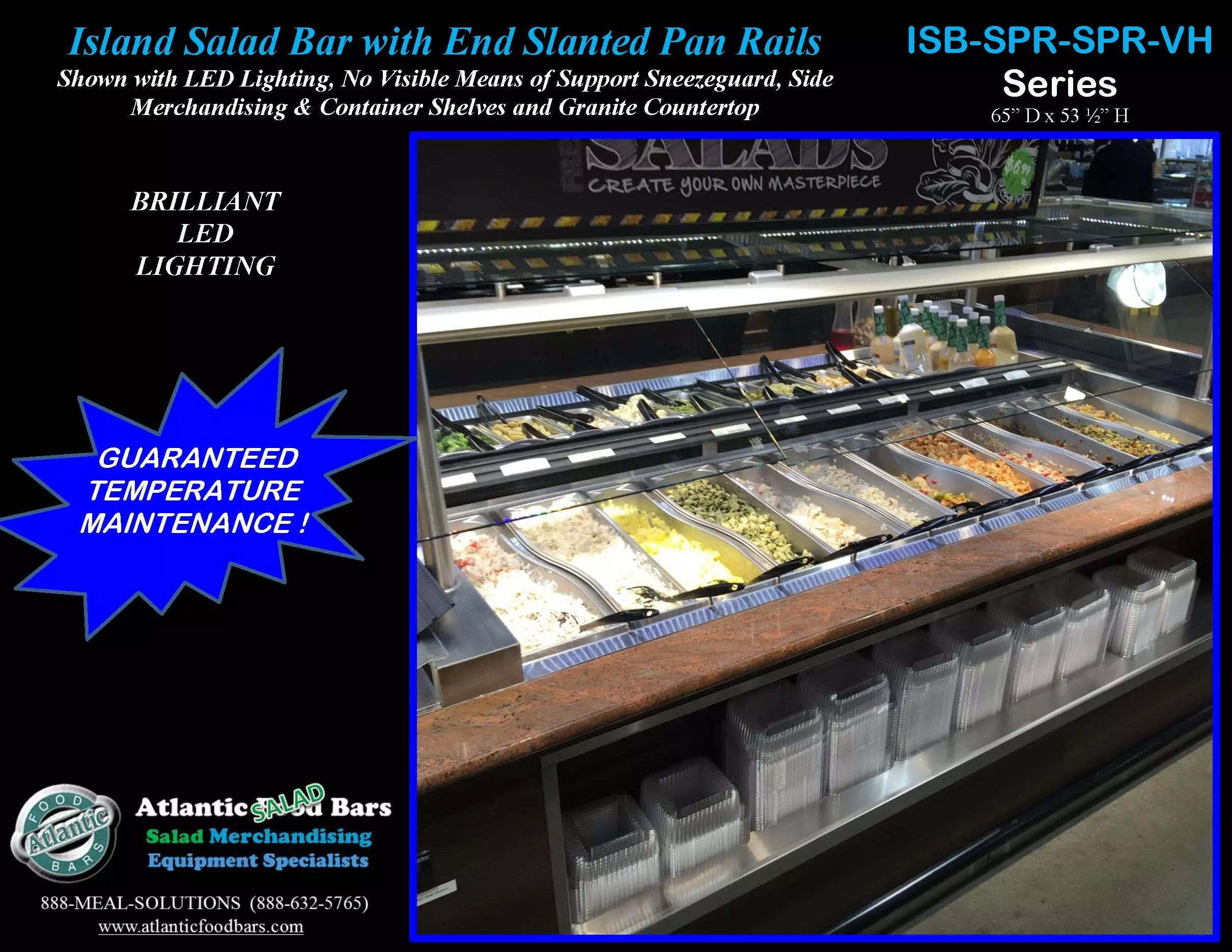 Refrigerated Island Salad Bar Featuring Slanted End Pan Rails Granite Countertop And LED Lighting ISB14863 GC SPR2 VH