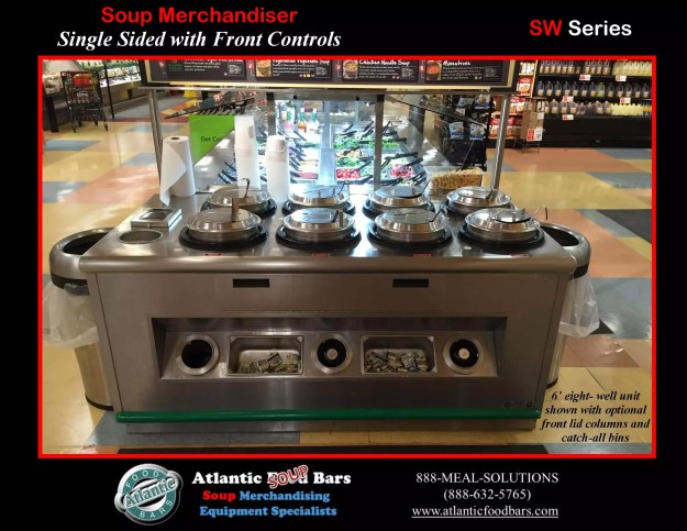 Atlantic Food Bars - 8-Well Soup Bar with Front Lid Columns and Catch-All Bins - SW7242-4AWI11-CAB3-FMC-LSC