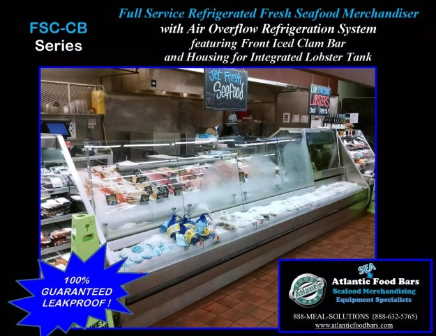 Atlantic Food Bars - Front Iced Clam Bar on a Full Service Refrigerated Seafood Case with Housing for Integrated Lobster Tank - FSC-CB