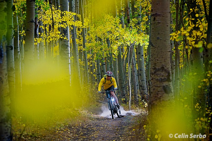 Dj Nechrony mountain biking on the Colorado Trail near Kenosha Pass on a colorful Fall day in Colorado.