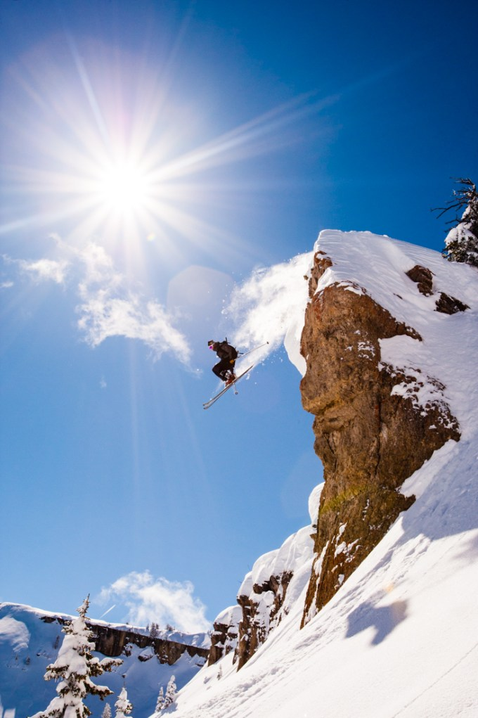Zachary Simon ski's off a cliff at Grand Targhee Resort.