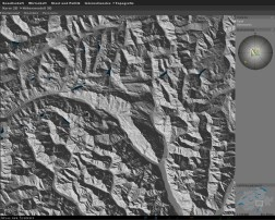 Illumination of the terrain model: Shading direction SW