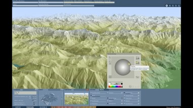 Illumination of the terrain model: Shading direction NE
