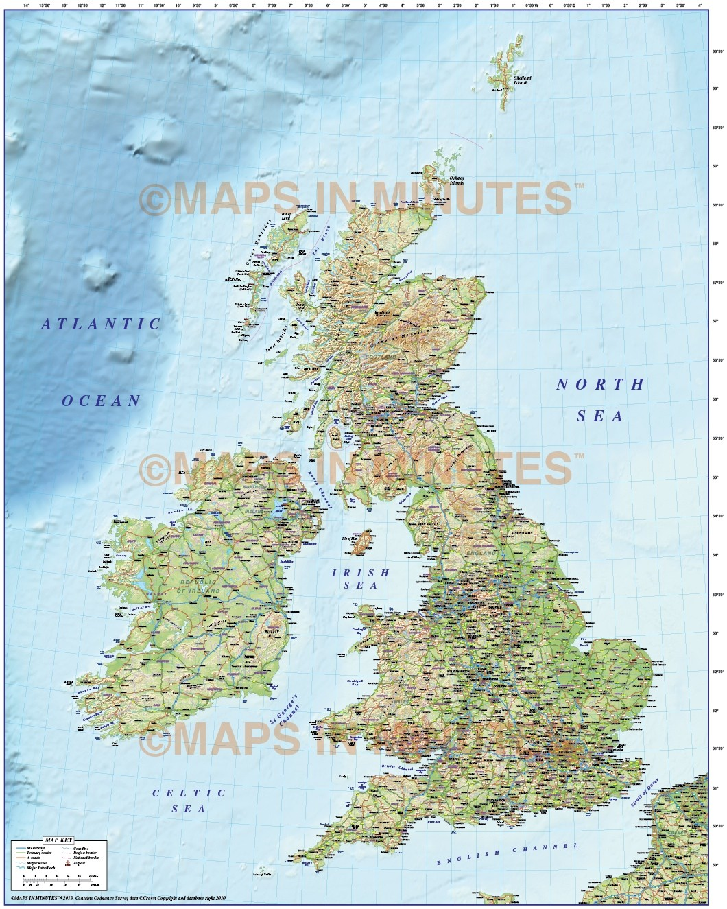 British Isles Map Illustrator Ai Format County And Road