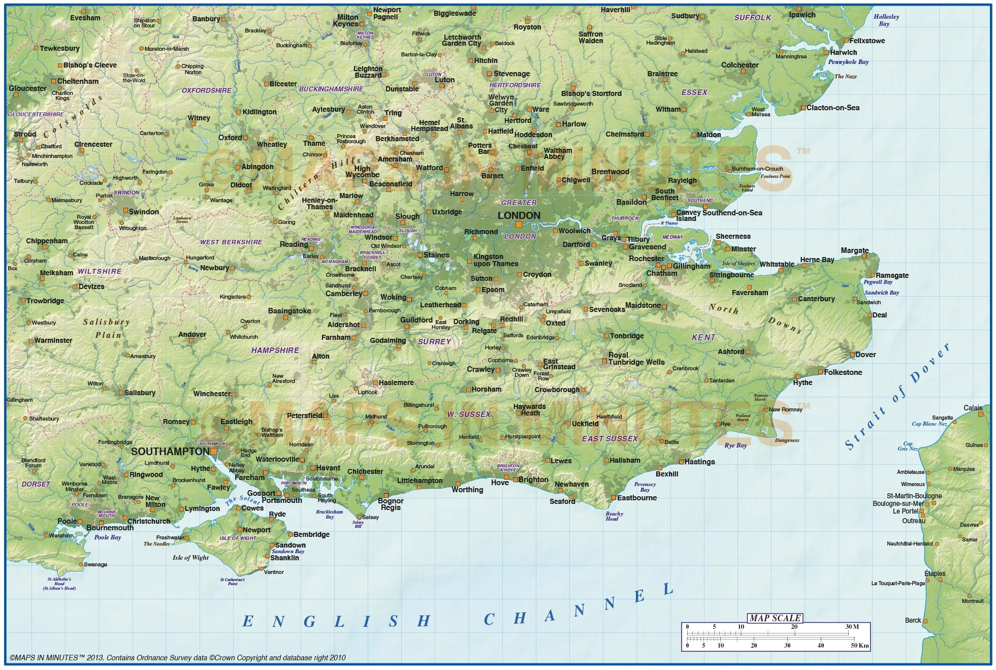 Digital Vector South East England Map With Strong Shaded