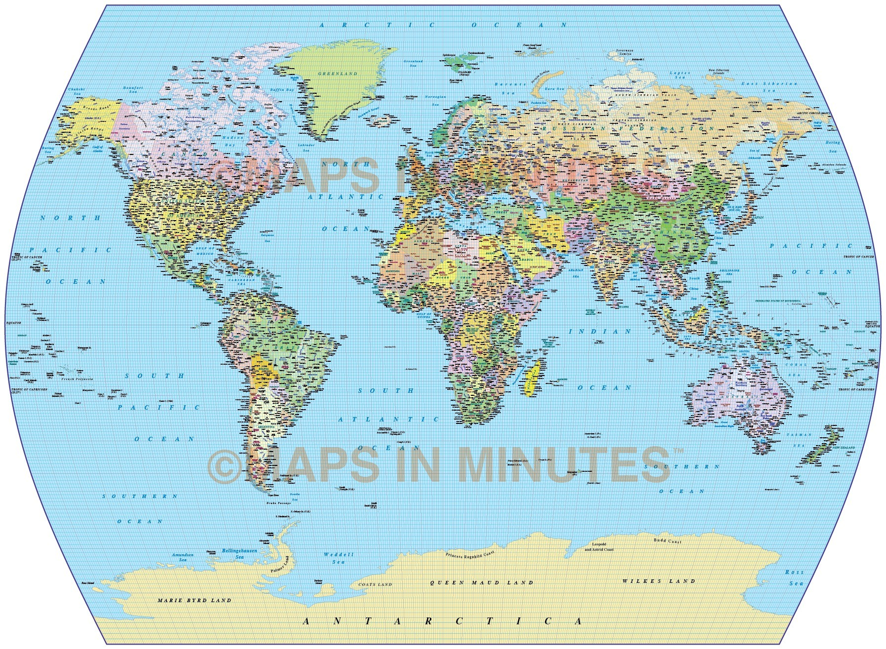 Vector World Map Times Projection Political Uk Centric