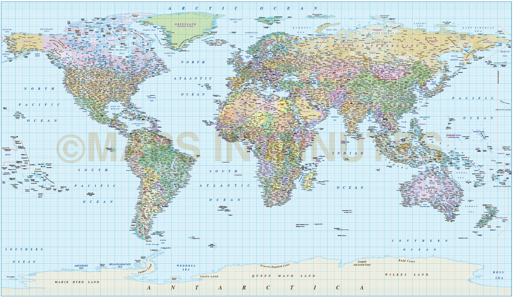 Digital Vector World Map Equirectangular Projection World