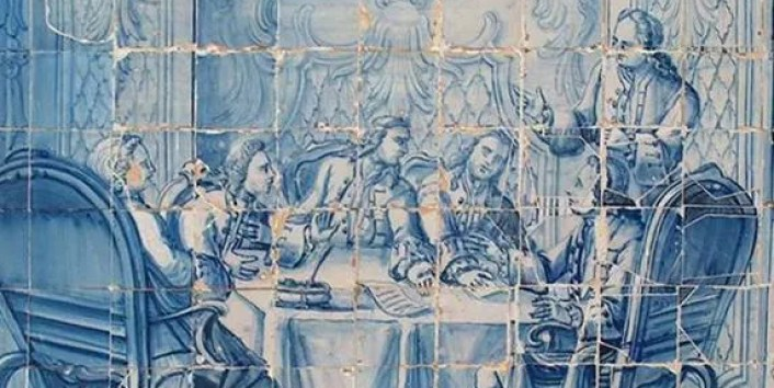 Azulejos depicting the Forty Conspirators at Palácio da Independência