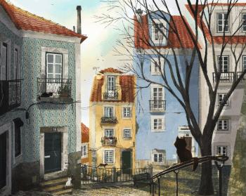 Lisbon illustration cale atkinson Lisboa houses
