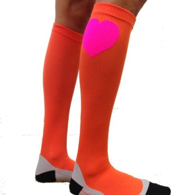 Compression Socks - Orange with Heart