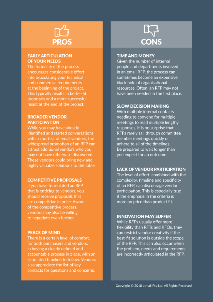 Email RFP - pros and cons - advantages - disadvantages - atmail email experts