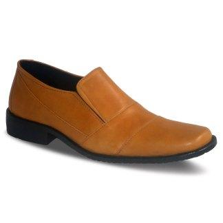 sepatu kulit pantofel pria loafer A07 tan - atmal