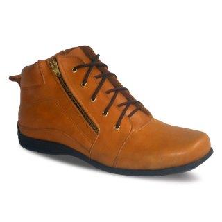 sepatu kulit pria derby midboots B04 tan - atmal
