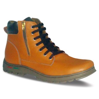 sepatu kulit pria derby boots B13 tan black - atmal