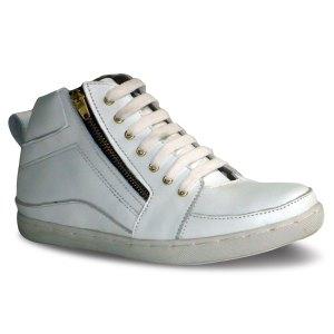 sepatu kulit sneakers D09 white - atmal