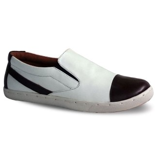 sepatu kulit sneakers D10 white brown - atmal