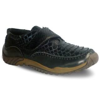 sepatu kulit pria python casual AP04 black - atmal