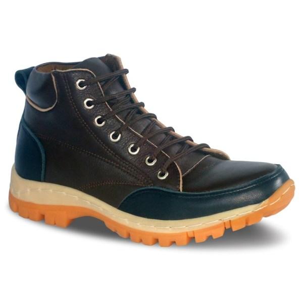 sepatu kulit pria casual C08A brown black - atmal