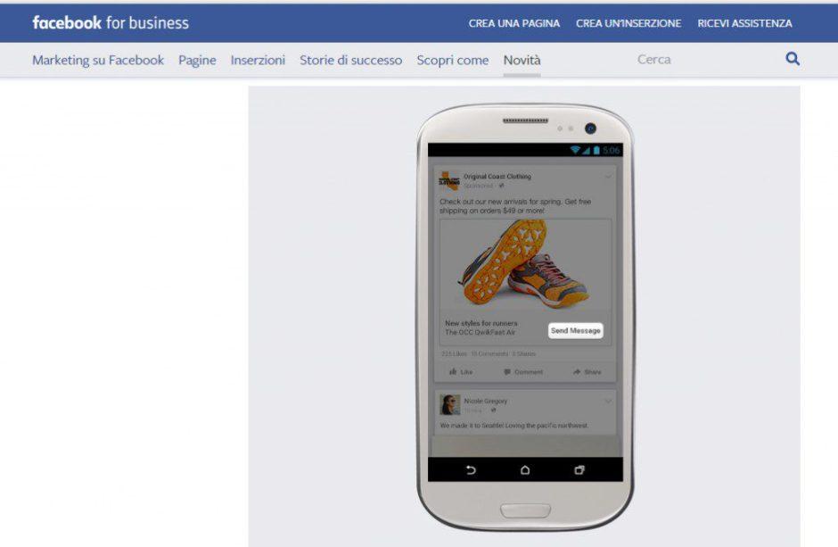 Messaggi da post sponsorizzati su Facebook