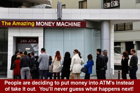 People Lined up at an ATM