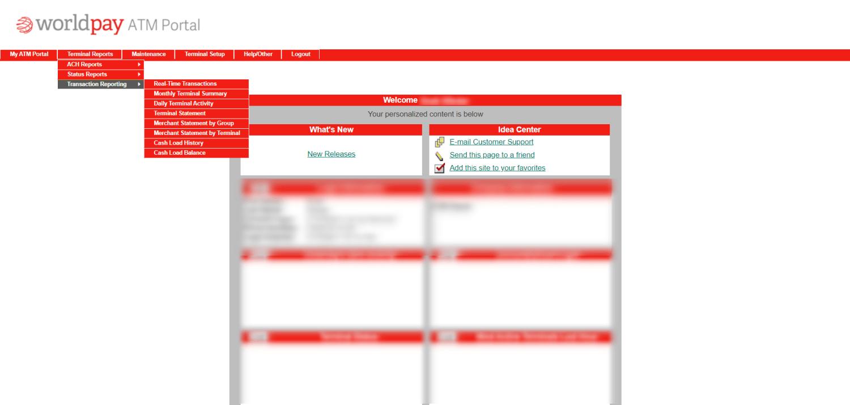 WorldPay Portal Dashboard - Transaction Reporting Dropdown