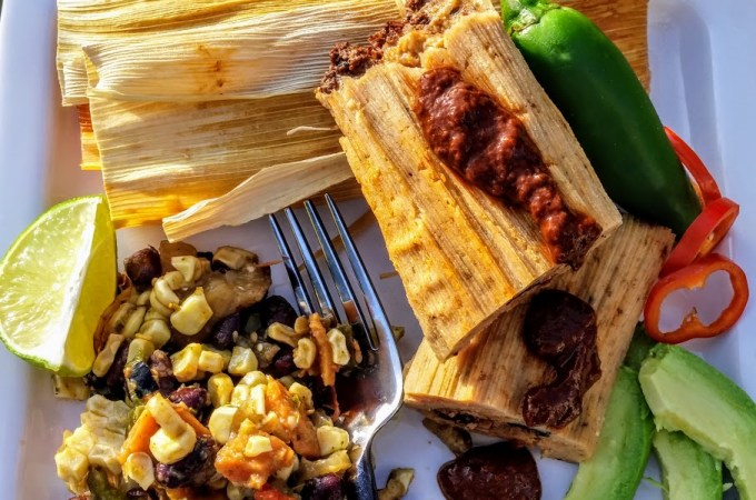 Vegan Chorizo Tamale with Four Pepper Chile Sauce: Tailgating 101, Part 3