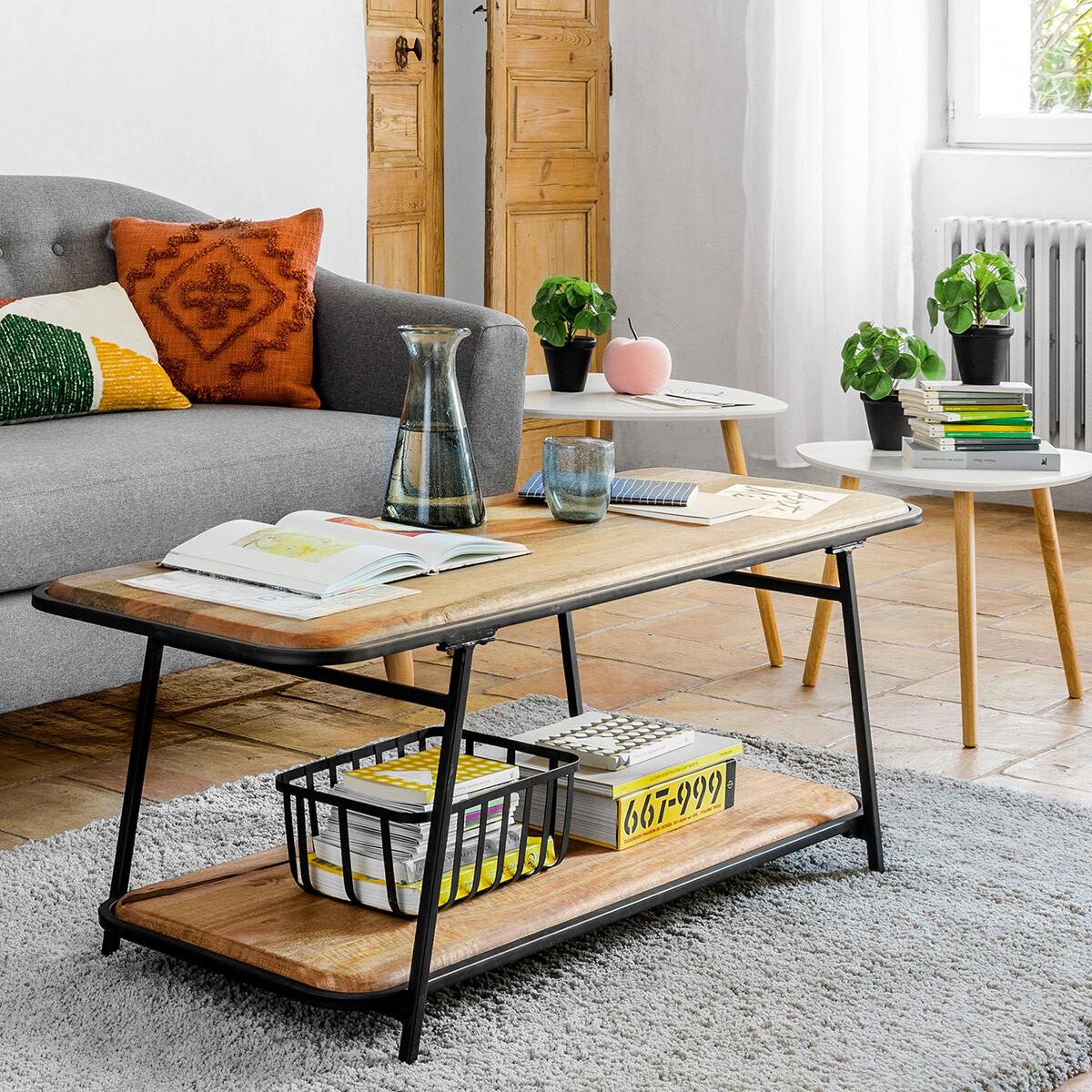 table basse kalida acier bois de manguier