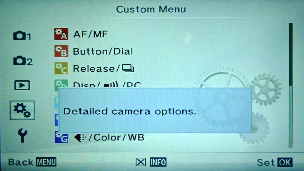 Olympus E-PM2 Custom Menu Display