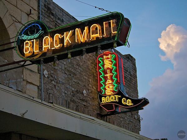 Blackmail and Boot Neon Closeup, SoCo - Austin, Texas
