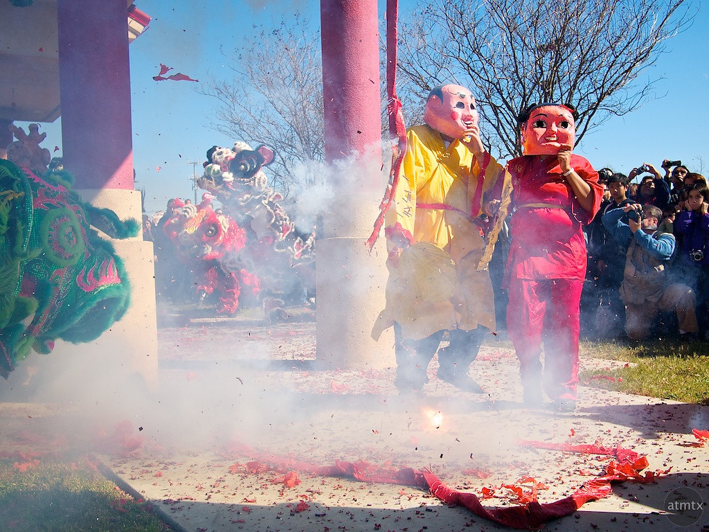 Big Head Buddha and Fireworks, 2012 Chinese New Year Celebration