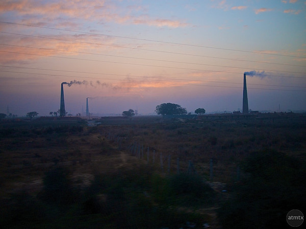Mysterious Smoke Towers - Between Delhi and Agra, India