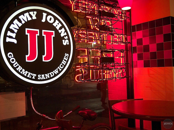 Red Neon Glow, Jimmy John's - Austin, Texas