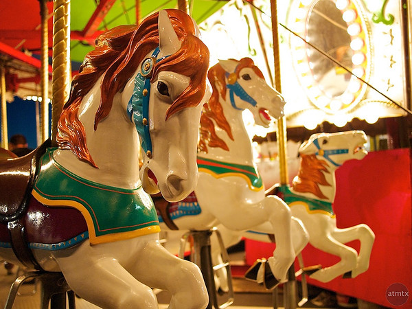 Galloping Carousel Horses, Parking Lot Carnival