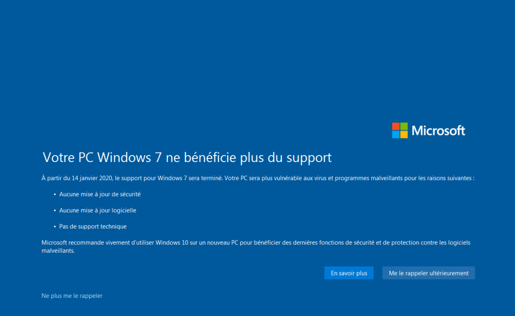 Fin de support Windows 7