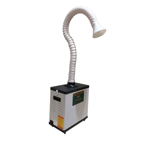 portable fume extractor with flexible arm digital display