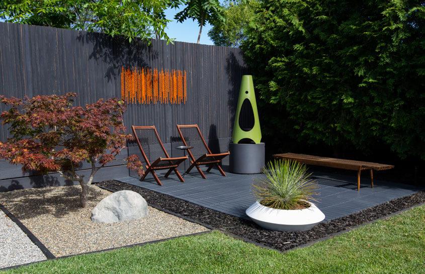 mid century modern backyard renovation