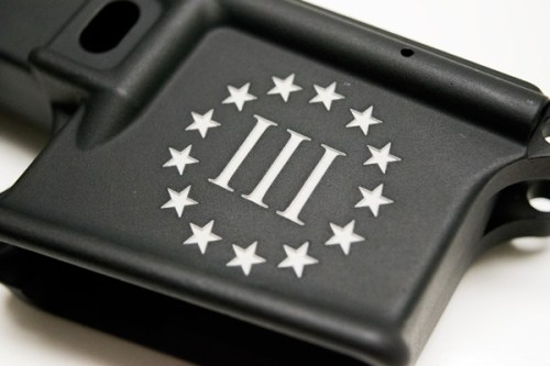 80% AR15 lower receiver custom engraved 3% logo