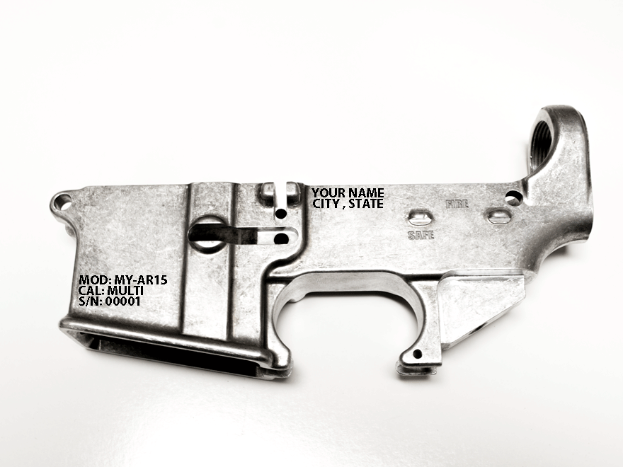 RAW AR15 80% lower receiver Ca compliance engraved. Serial number and Idertification
