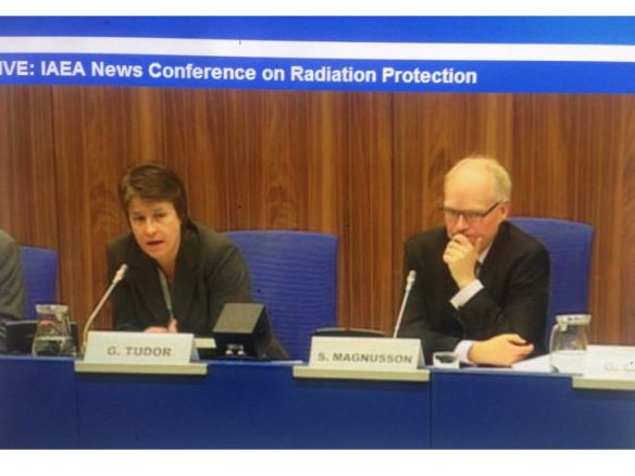 "IAEA Public Information Officer Gill Tudor and Sigurdur Magnusson, Director the Icelandic Radiation Safety Authority speak after the Feb. 17-21 closed-door meeting on ""Promoting Confidence and Understanding"" in radiation protection following the Fukushima Daiichi meltdown"
