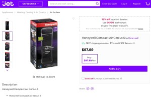 Jet.com's Honeywell AirGenius 5 Page