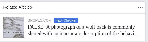 Facebook fact checker on wolf pack article.