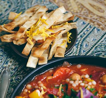 Mediterranean Harissa Stew with Crispy Vegan Lavash Strips