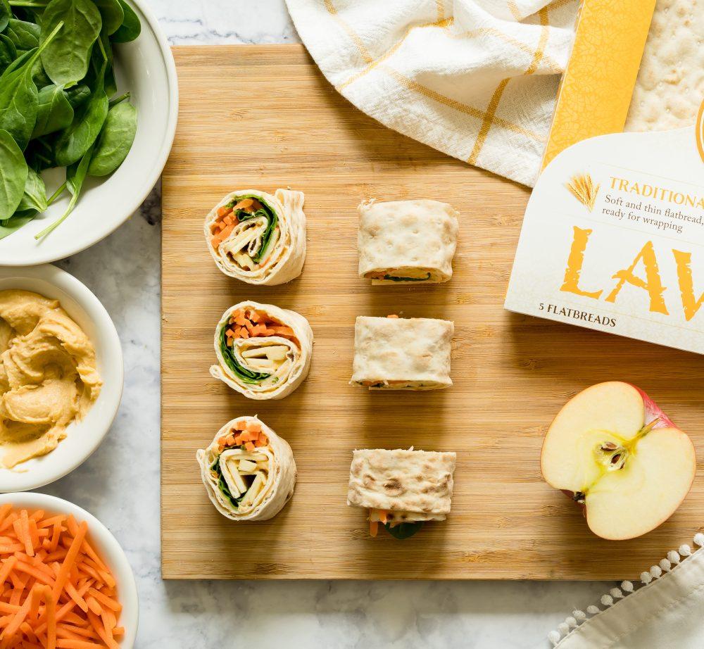 Hummus and Apple Lavash Pinwheels