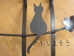 33-猫妻飾り 。ロートアイアン風アルミ製オーダー妻飾りの写真