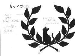 アトリエそうオリジナルデザインのアルミ製妻飾りです。おしゃれで人気のロートアイアン風アルミ製オリジナル妻飾りFタイプに小さい猫のモチーフを加えた妻飾りの写真