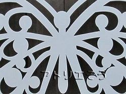 蝶々妻飾り。ロートアイアン風錆に強いアルミ製妻飾りです。白塗装