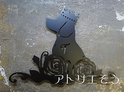 ビーグル犬+薔薇+イニシャルY+ティアラ妻飾り